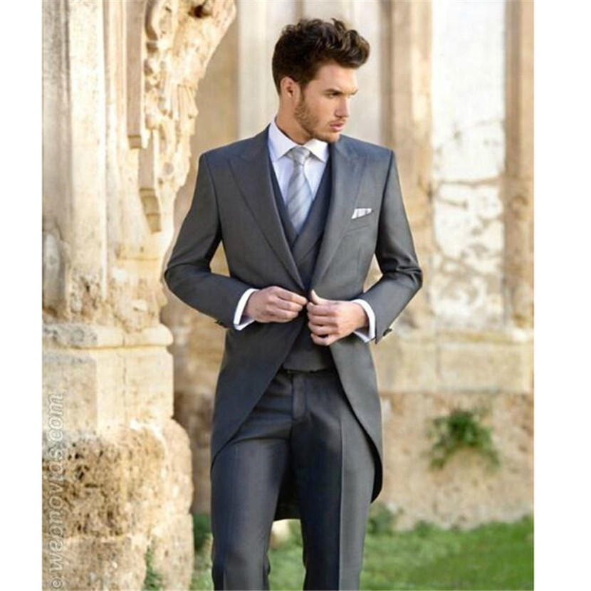 New Rushed Grey Wedding Suits For Men 3 Pieces Slim Fit Groomsmen For Peaked Lapel One Button Tailcoat (jacket+pants+vest)