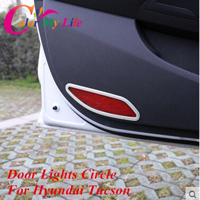 Color My Life Car Chrome Wewnętrzne oświetlenie drzwi Koło Cekiny Naklejki na drzwi wewnętrzne na światło dla Hyundai Tucson 2015 2016 2017