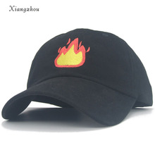 126b90b78fb62 2018 Fashion Baseball Cap with FIRE Embroidery Men Hat Summer Fall Brand  Cotton Black Caps Women