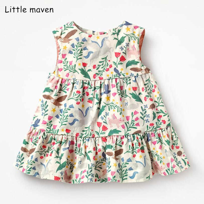 Little maven 2019 new summer baby girls brand dress kids cotton aimal flower rainbow print sleeveless dresses