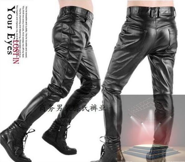 Spring and autumn mens tight leather pants male slim black patchwork PU motorcycle feet pants mens faux leather trousers black