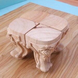 Image 3 - Muebles con patas de madera maciza flor tallada mueble de TV pies de asiento sin pintura
