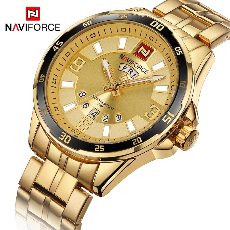 Мужские золотые часы Топ Naviforce 9106 спортивные часы мужские водонепроницаемые полностью Стальные кварцевые армейские военные часы мужские ...