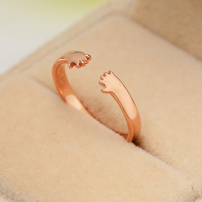 Fashion personality open ring woman 925 sterling silver jewelry rose gold plated pinky free carving - CRYSTAL BEADS store