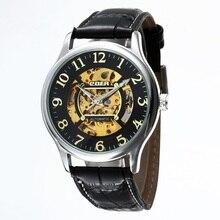 GOER марка мужская цифровые часы механические часы Полностью автоматическая кожа Спорта водонепроницаемый Световой Скелет Мужчины наручные часы