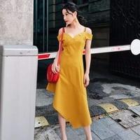 2018 New Summer Women Simple Fashion Irregular V neck Slim Solid Spaghetti Strap Button Casual Dress