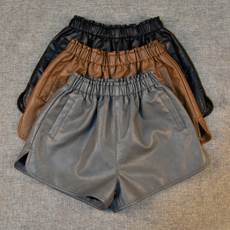 SexeMara New 2017 Fashion Women's Shorts Autumn & Winter Casual PU Leather Wide Leg Shorts Elastic High Waist Plus Size Shorts