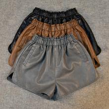 SexeMara New 2017 Fashion women s shorts Autumn Winter casual PU leather wide leg shorts high