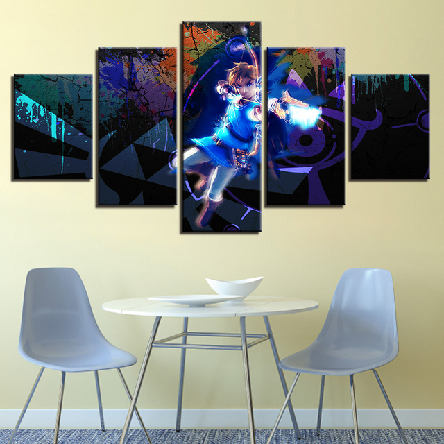 Canvas Wall Art Pictures Modern Frame Living Room 5 Pieces Legend Zelda Game Characters Scene Hd Print Poster Painting