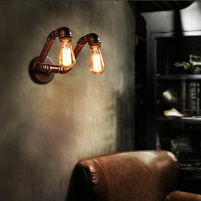 Vintage copper color Edison bulb wall lamp pipe wall light home decoration light study room ...