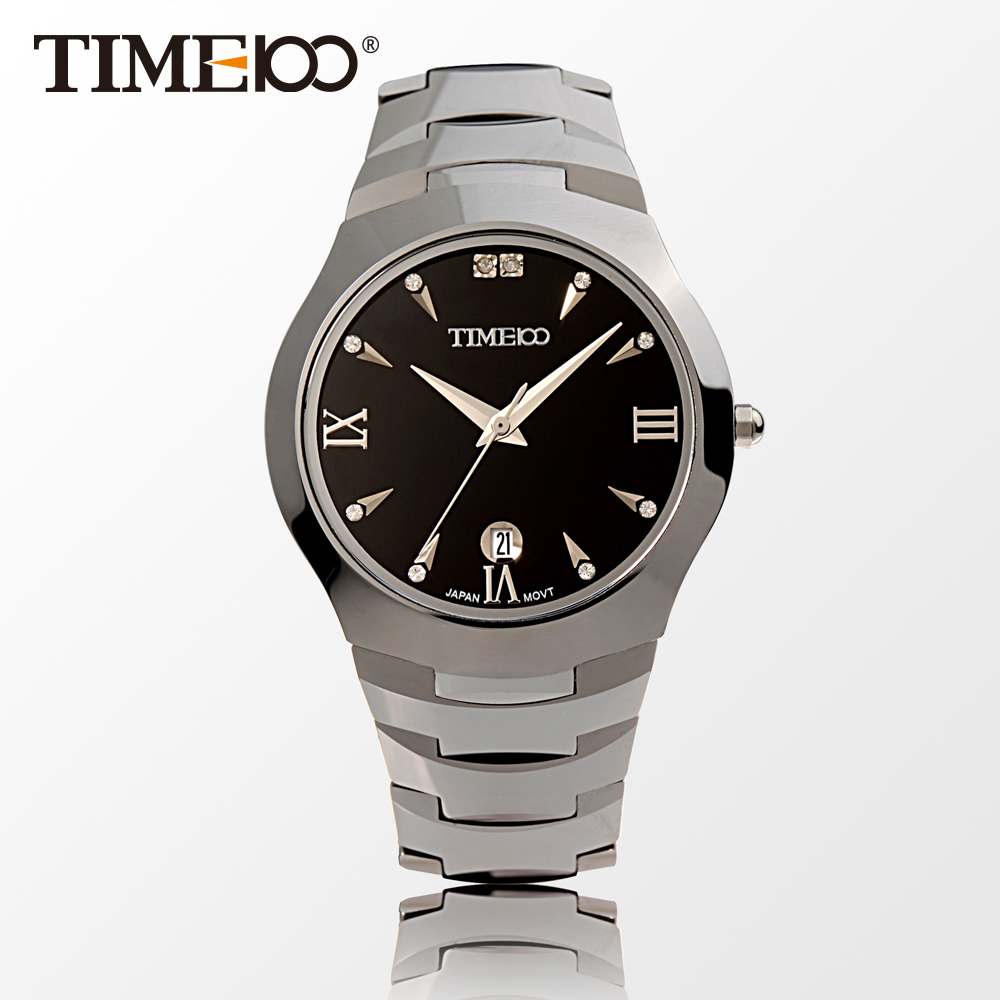 ФОТО New Time100 Men's Watches Tungsten Steel Strap Sapphire Auto Date Calendar Business Casual Quartz Wrist Watches For Men