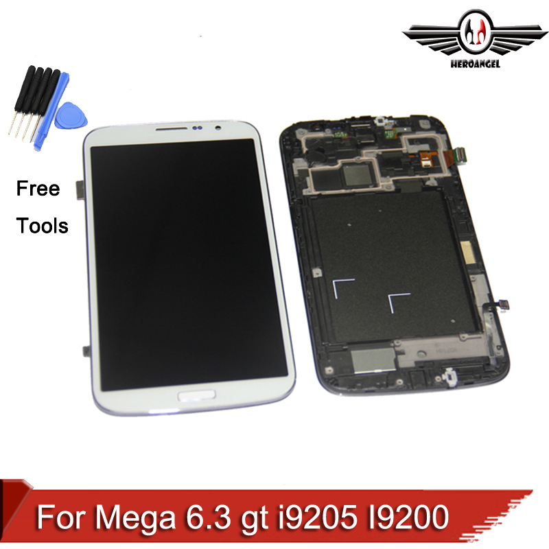 ФОТО Black Grey White For Samsung Galaxy Mega 6.3 gt i9205 I9200 LCD Display Touch Screen with Digitizer Assembly FRAME