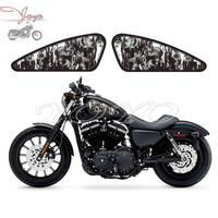 Motorcycle Custom Skull Flame Design Fuel Tank Decals Stickers For Harley Sportster XL 883 1200 Iron