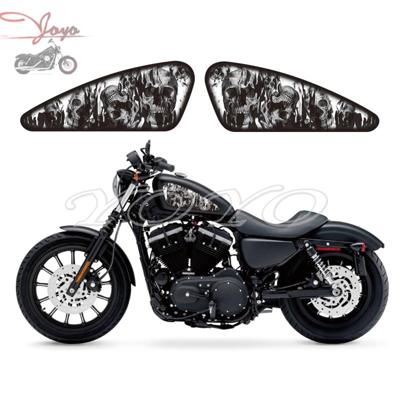 Motorcycle Custom Skull Flame Design Fuel Tank Decals Stickers For Harley Sportster XL 883 1200 Iron Forty Eight Seventy Two