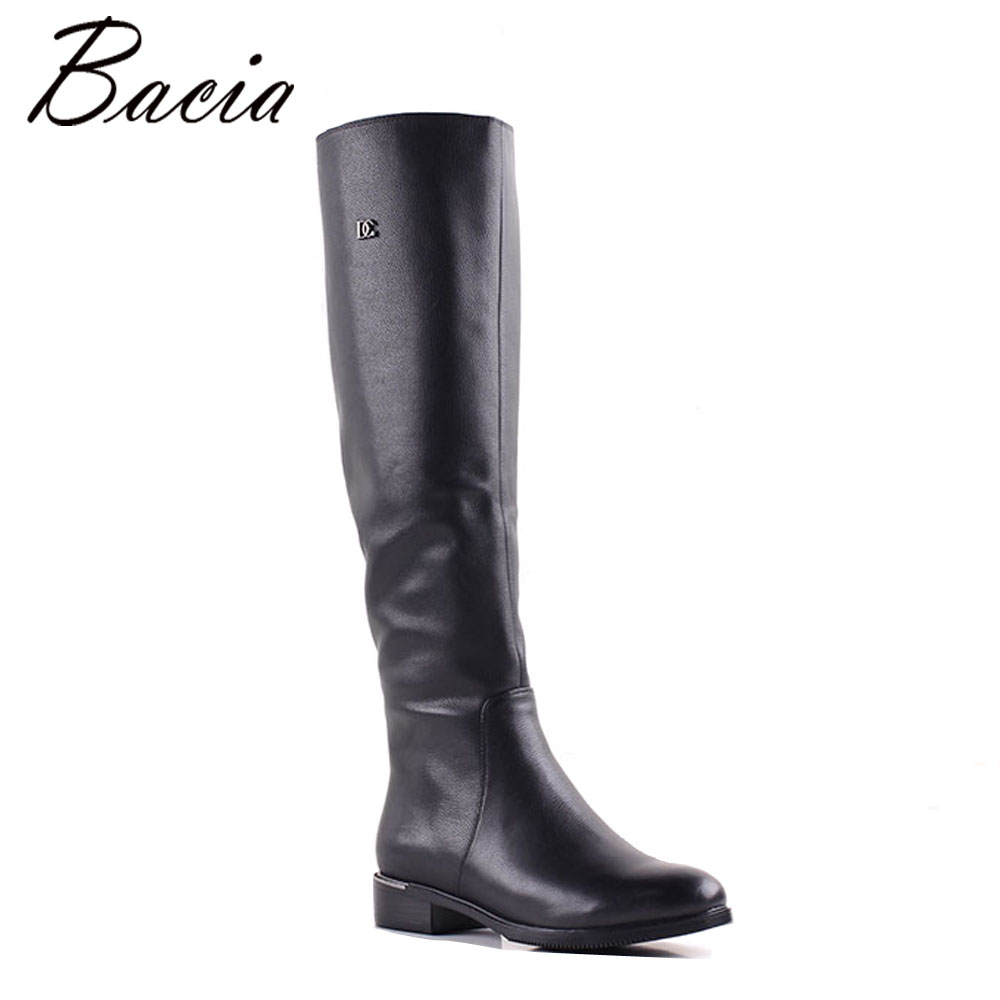Bacia Women Genuine Leather Over-Knee Boots Low Heel Shoes Warm Wool Fur & Short Plush Boots Ladies Winter Snow Boots MB014 pritivimin fn81 winter warm women real wool fur lined shoes ladies genuine leather high boot girl fashion over the knee boots