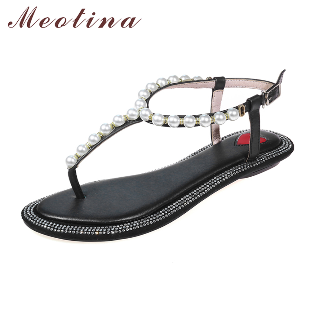 Meotina Shoes Women Genuine Leather Sandals Summer Flat Thong Sandals Beading Beach Shoes Fashion Ladies Flats Shoes White Beige