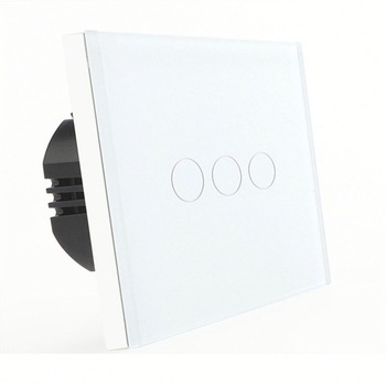 Bseed 240v Touch Switch 3 Gang 2 Way Wall Switch With Glass Panel White Light Switch Eu Uk Us Au 3 gang 1 way 118 72mm wallpad white glass touch wall switch panel led 110v 250v au us switching power supply free shipping