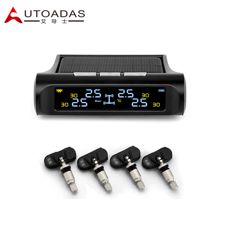 Tire Pressure font b Monitoring b font System with 4 Internal sensors Solar LCD PSI BAR