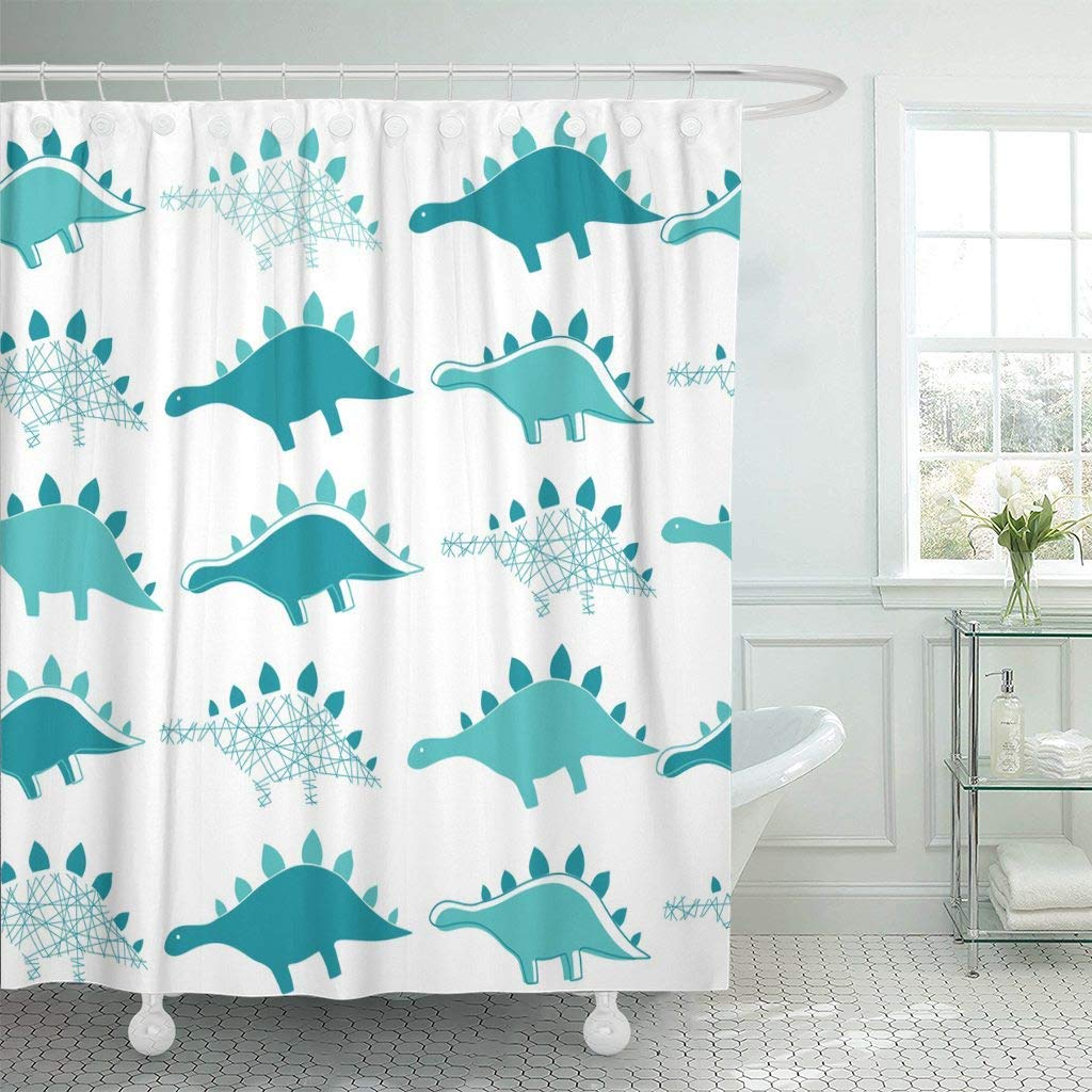 Us 15 79 47 Off Shower Curtain With Hooks Dinosaur Colorful Ideal Baby Party Kindergarten Children Room Birthday Boy Cartoon Fun Bathroom In Shower