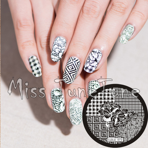 New Stamping Plate hehe73 Nail Art Four Quater Template Hawaii Flower Chic Check British Style Stamping DIY Tool