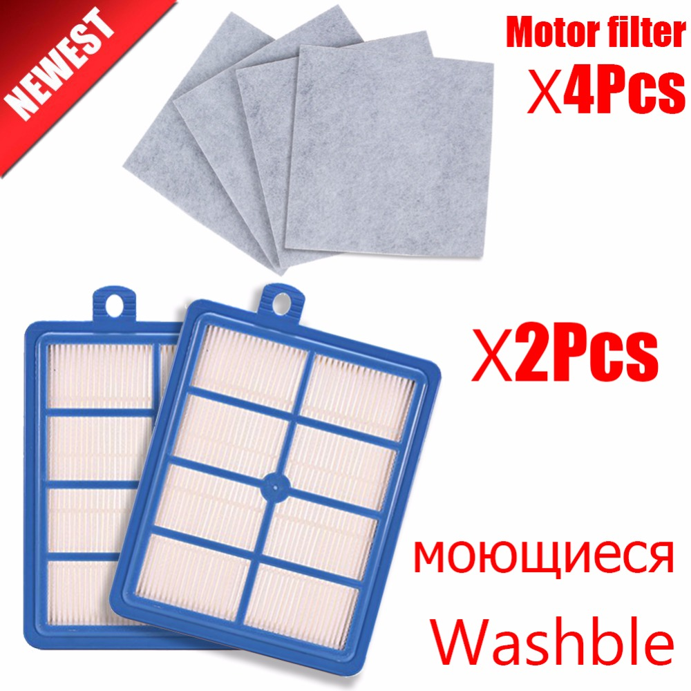 Washble 2PCS dust Hepa Filter H12 H13+4PCS Motor cotton filter for Philips Electrolux AEG Vacuum Cleaner replacement parts цена