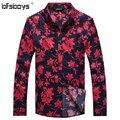 2015 Brand New Preto Vermelho Roupas de Algodão Camisa do Homem da Moda Verão Flor de Manga Longa Camisas do Homem Venda Quente 1107