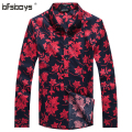 2015 Brand New Red Black Fashion Man's Clothes Cotton Shirt Summer Long Sleeve Flower Man Shirts Hot Selling 1107