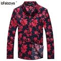 2015 Nuevo Rojo Negro del Hombre de la Manera Ropa de Algodón Camisa de Verano de Flores de Manga Larga Hombre Camisas de la Venta Caliente 1107