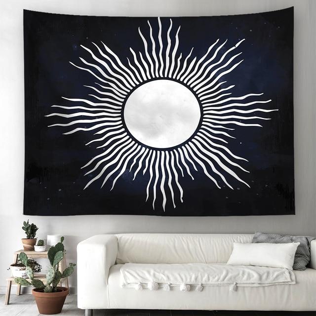 Sun Moon Hippie Tapestry Wall Hanging Indian Bohemian Celestial Printed  Window Door Curtain 130x150cm 150x200cm Home