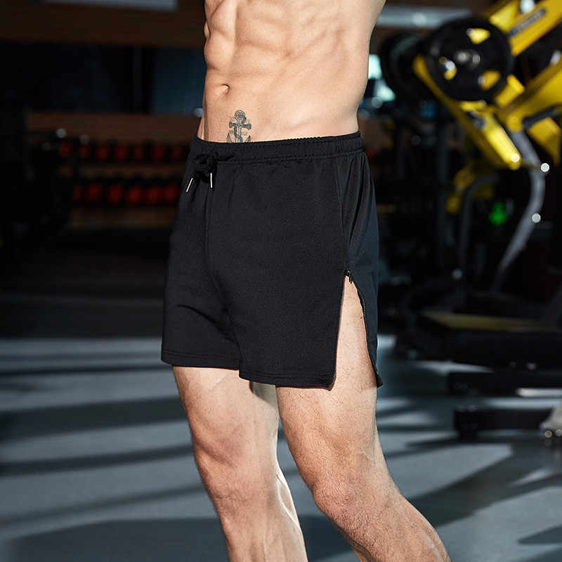 Gymohsí nuevos pantalones cortos para hombre borde cremallera Bermuda verano playa hombres pantalones cortos color puro Hombre marca pantalones cortos Casual Fitness Jogger