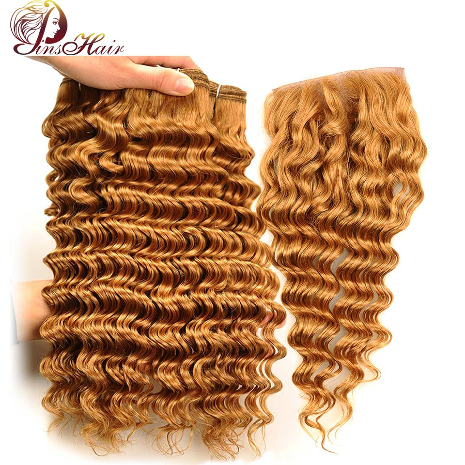 Peruvian Hair Deep Wave 3 Bundles With Closure Honey Blonde 27 Color Human Hair Bundles With