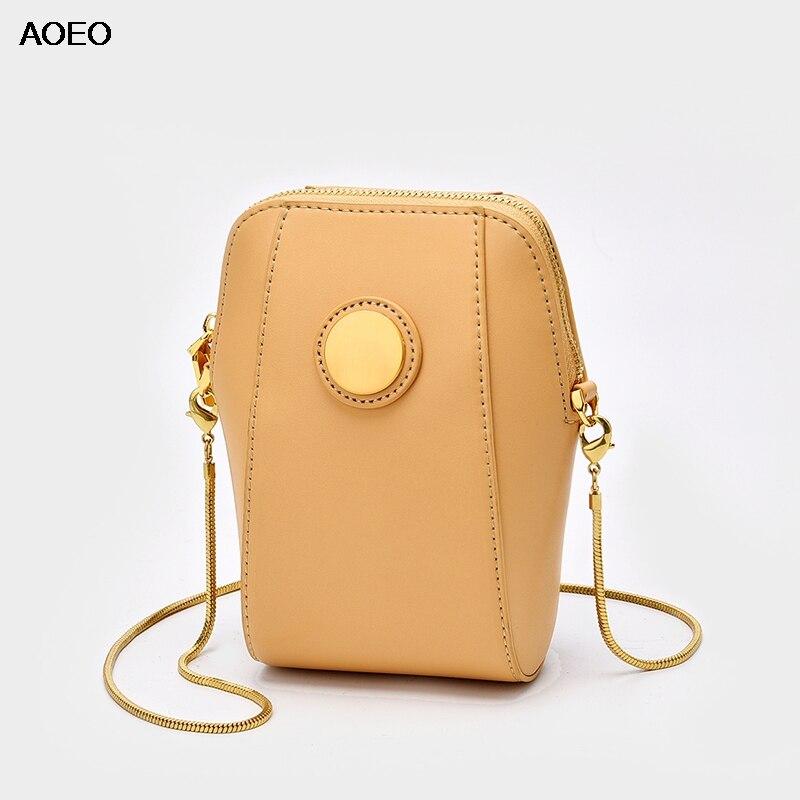AOEO Womens Chains Sling Bag Crossbody Split Leather Round Metal Lady Luxury Small Handbag Girl Shoulder