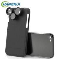 En gros 5 PCS/lot 360 Degrés de Rotation 4 En 1 Fish Eye Grand Angle Macro Camera Lens Téléphone Cas Pour iPhone 6 6 s/6 6 s Plus/7 7 Plus