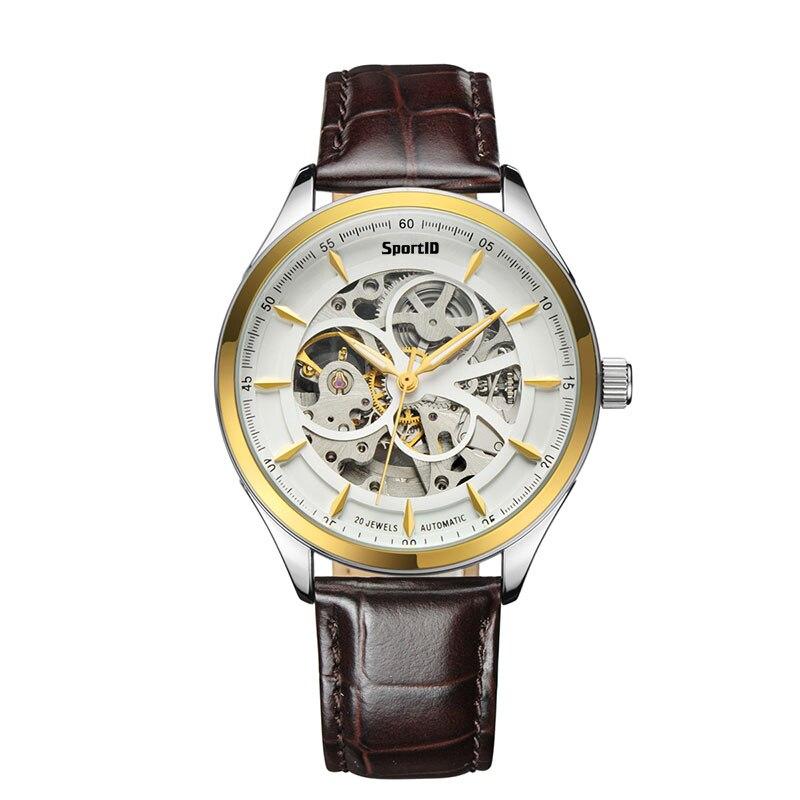 2017 SportID Mens Watches Top Brand Luxury Mechanical Automatic Wristwatch Men Waterproof Business Leather Creative Wrist Watch