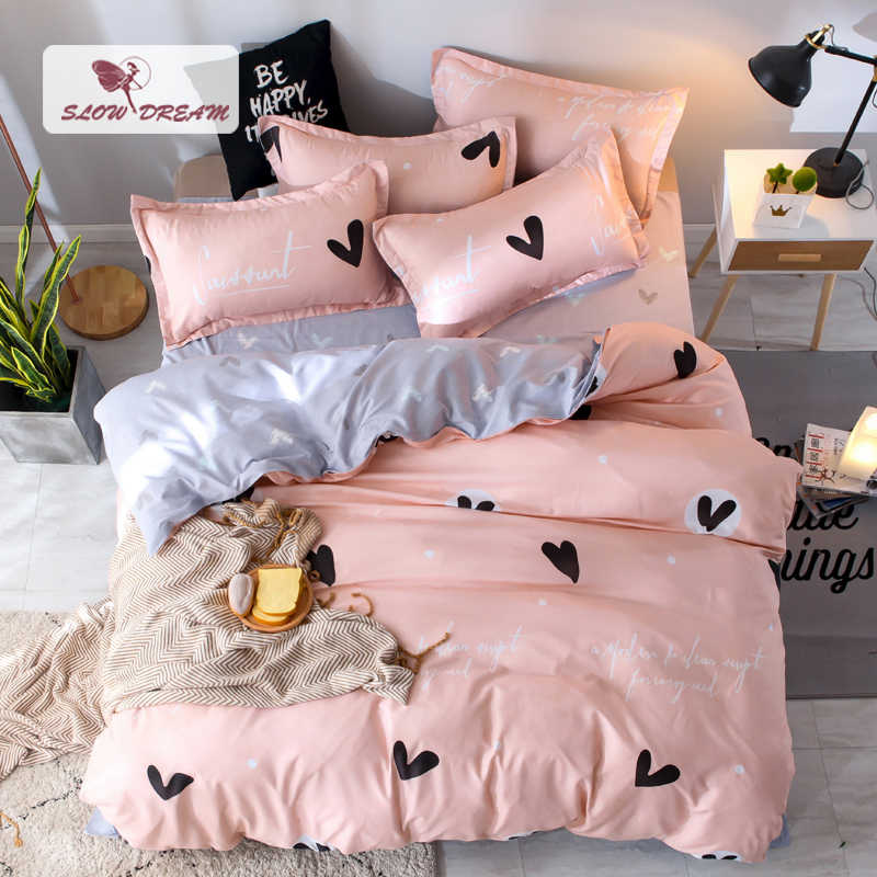 SlowDream Bedding Set Nordic Comforter Duvet Cover Bedspread Single Double Bed Sheet Linen Adult Queen King Pattern Bedclothes