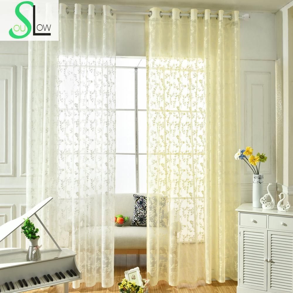 Slow Soul White Beige Korean Garden Floral Jacquard Curtain Bedroom Living Room Tulle Curtains For Kitchen Sheer Baby Cortina-in Curtains from Home & ...