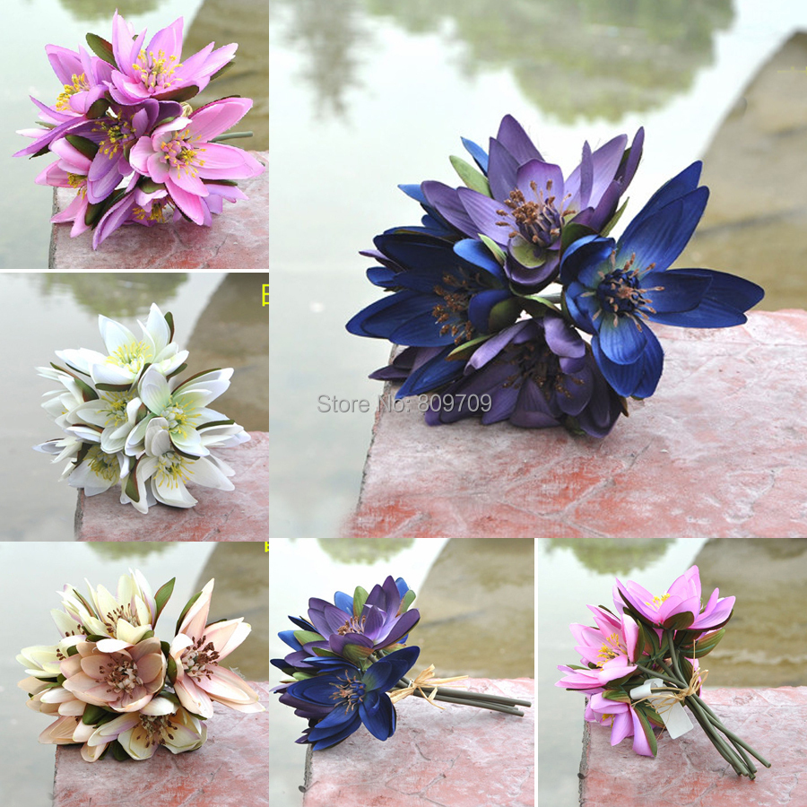 Aliexpress buy 12pcs artificial silk 10 water lily lotus aliexpress buy 12pcs artificial silk 10 water lily lotus bush bridal holding flower bouquet plant wedding party home decoration from reliable party dhlflorist Images