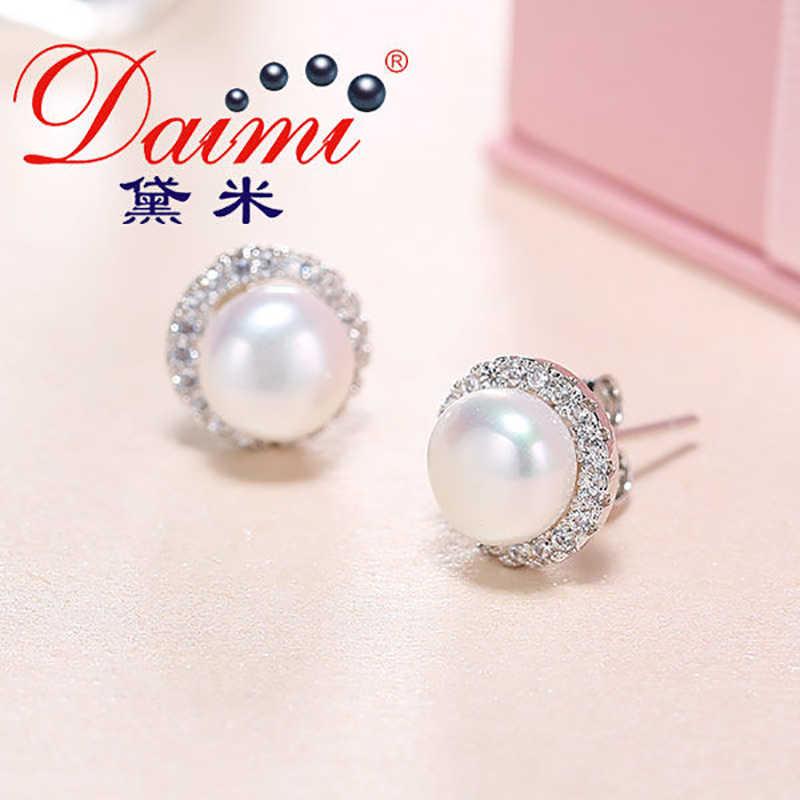 DMCEFP028 7-8MM kolczyki z pereł prawdziwe 925 srebro półokrągłe kolczyki dla kobiet