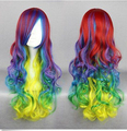 Free Shipping !!! New Hot 70cm Long Curly Lolita Rainbow Color Carnival Party Wig