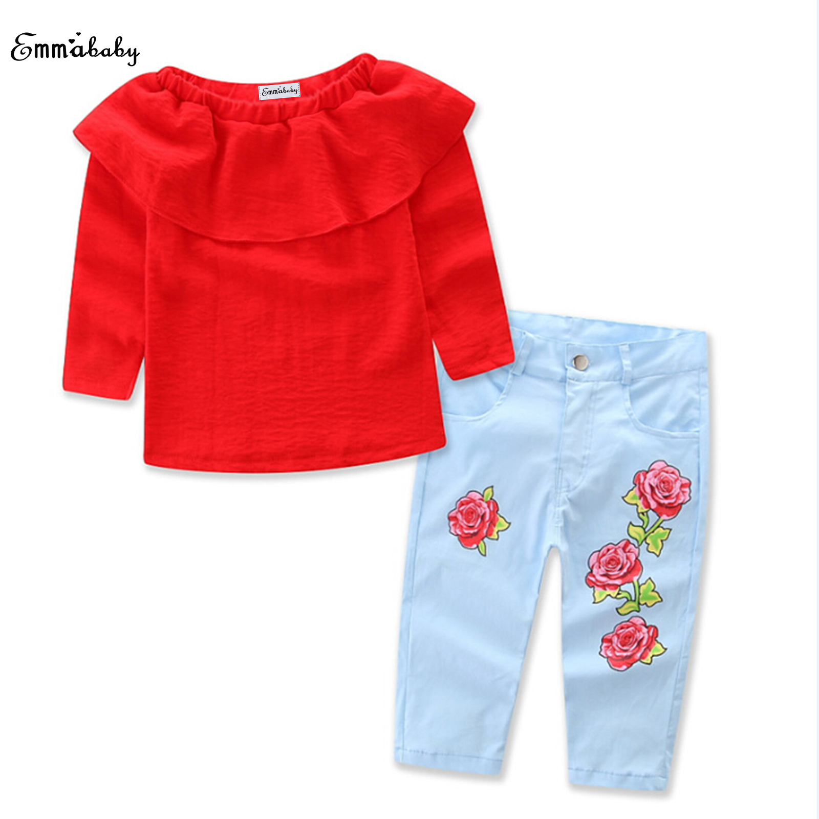 New arrival Toddler Kids Baby Girl long sleeve ruffles red T-Shirt Tops+floral Denim Jeans Pants 2pcs fashion Clothes Outfit Set 2016 new arrival spring denim girl