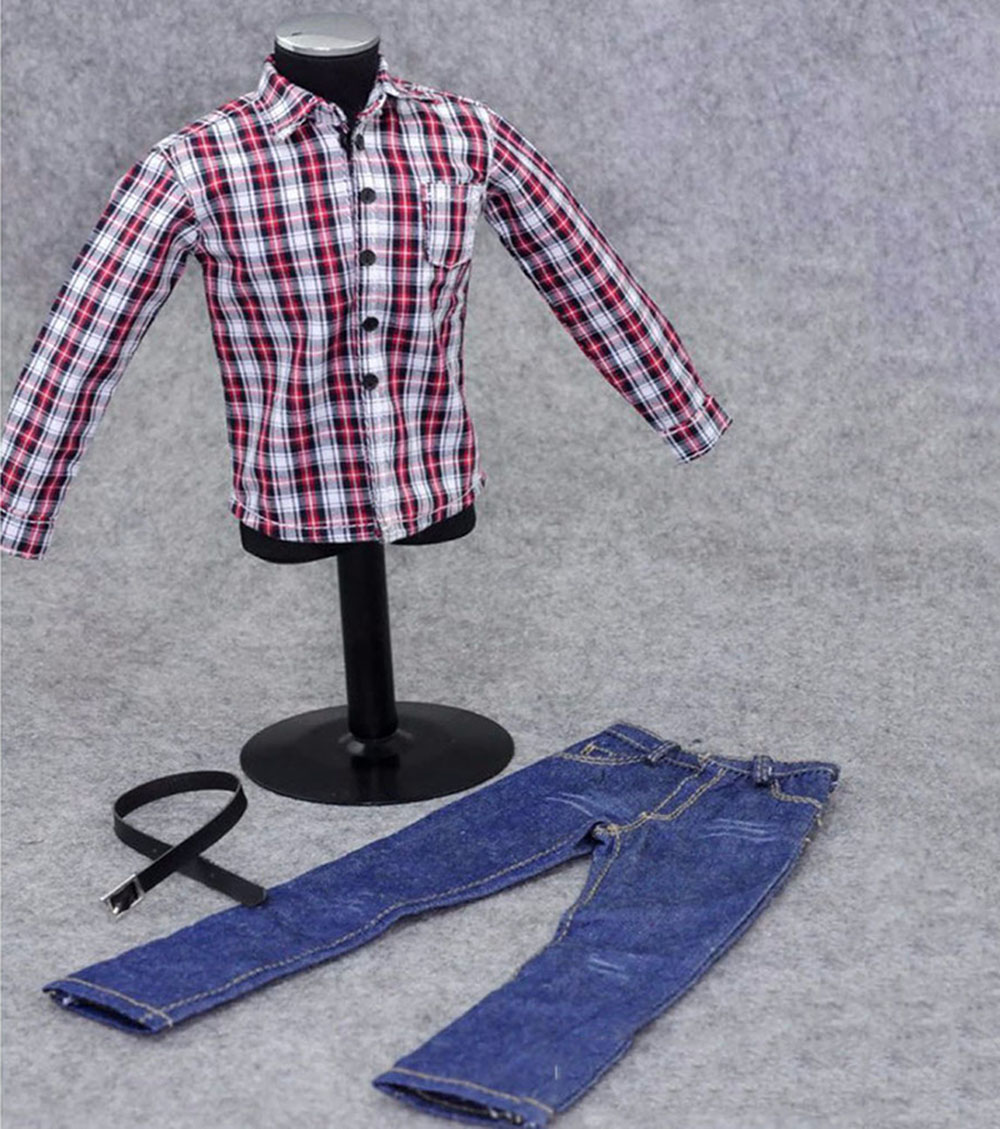 1//6 Scale Female Striped//plaid White shirt Casual Jacket For 12/'/' Action Figure