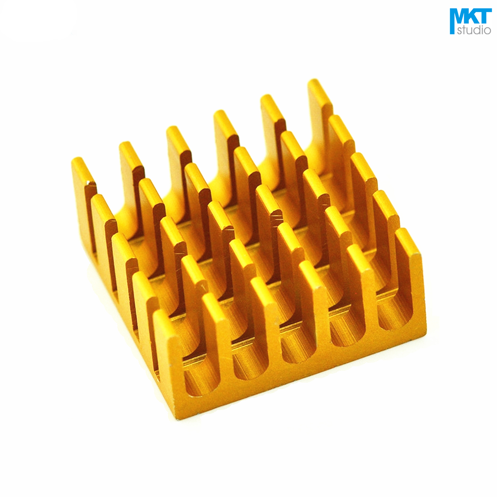 100Pcs Gold 22mmx22mmx10mm Pure Aluminum Cooling Fin Radiator Heat Sink
