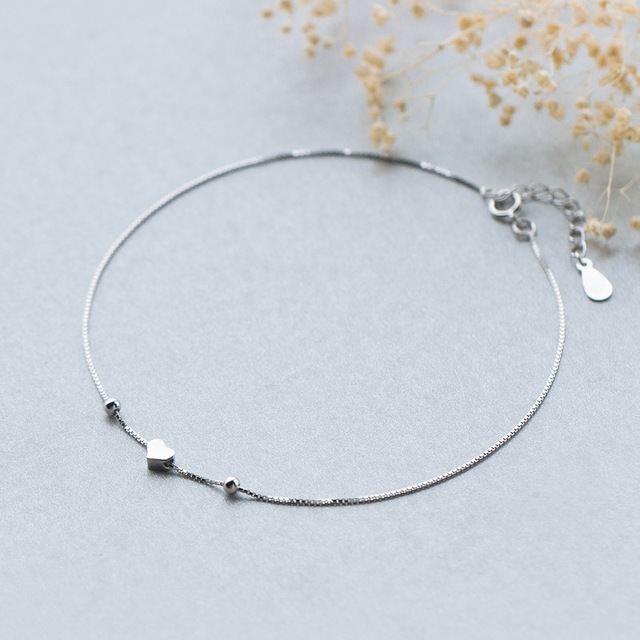 MIESTILO 925 Sterling silver Tiny Heart Charm Anklets for Women Girl Foot Jewelry Lover Dainty Sterling-silver-jewelry Gift Teen
