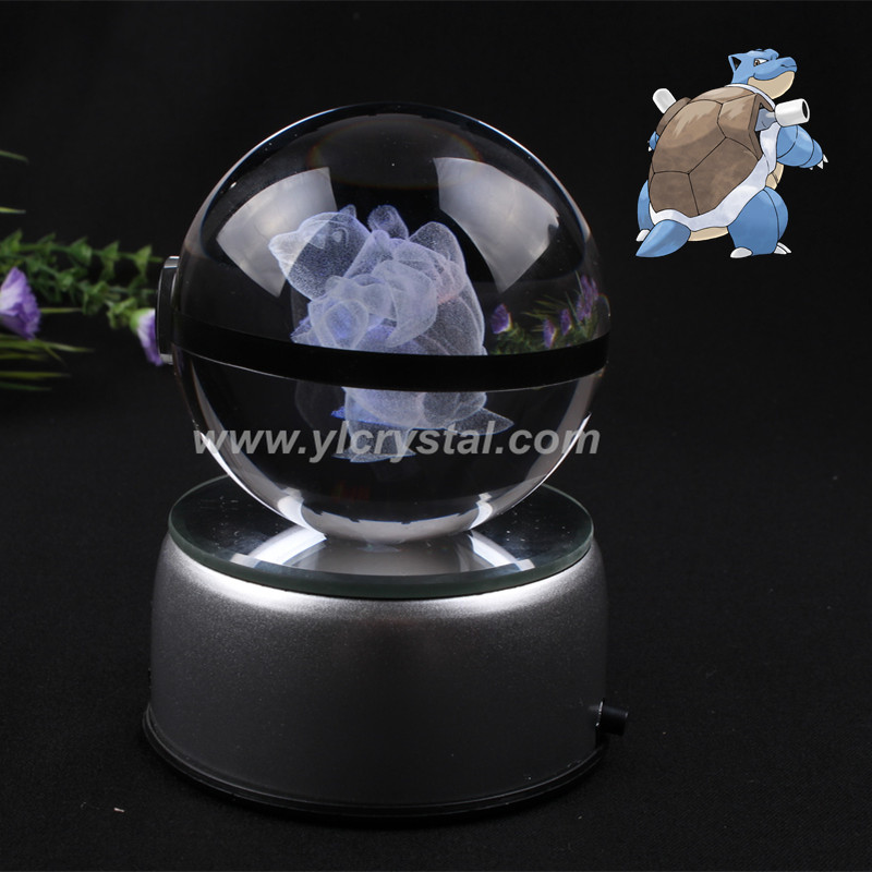 Pokemon Ball Engraving Blastoise Round Crystal With Black Line Nice Fashion Ball With LED Base With Gift Box