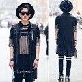 2016 Men Fashion Harajuku Irregular Black See Through Shirts Lace Slim Fit Luxury Mesh Shirt Casual Dress Western Shirts