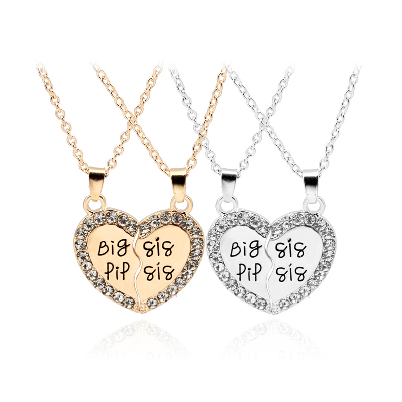 2 piece heart personalized hand stamped big sis little sis lil 2 piece heart personalized hand stamped big sis little sis lil sister necklace splice heart crystal family jewelry sisters gift in pendant necklaces from mozeypictures Image collections