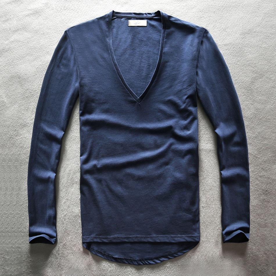 Zecmos מצויד גברים T חולצות שרוול מלא - בגדי גברים
