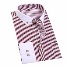 Jeetoo полосатый Для мужчин платье рубашка Бизнес Формальные Для Мужчин's Рубашки для мальчиков с длинным рукавом запонки Рубашки для мальчиков хлопок Для мужчин Slim Fit Рубашка в полоску 2017