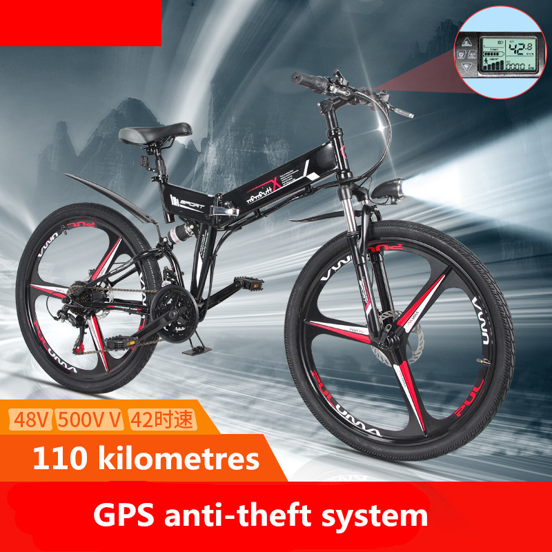 Folding electric mountain bike 110 km bicycle 350W lithium battery booster car GPS adult ...