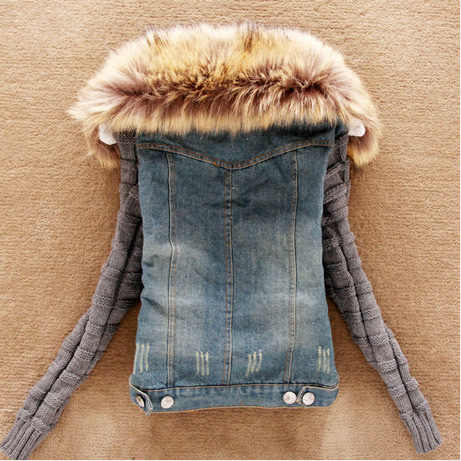 La Nuova Molla Che Copre Edizione Del Han Capelli Pesanti Arrivare Cotone Manica di Lana Giacca di Jeans Cowboy Cappotto Corto LJA122